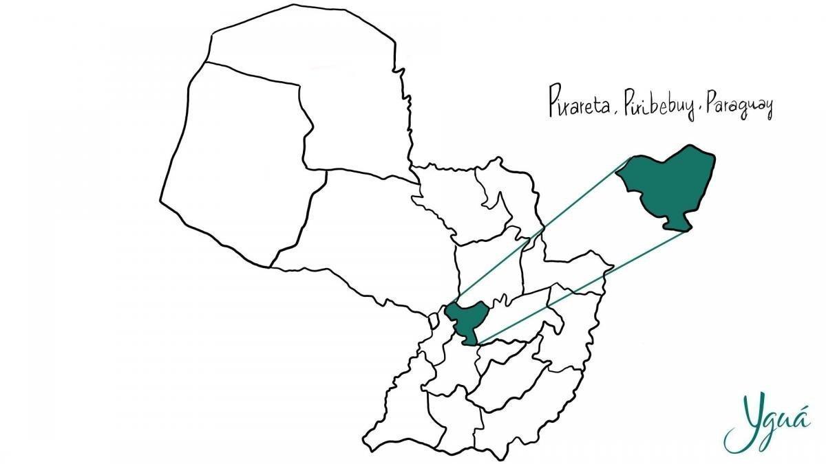 Pirareta en el mapa de Paraguay.